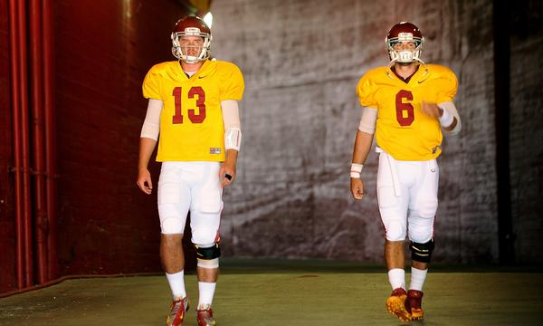 Could Max Wittek, left, and Cody Kessler each see time under center when USC opens its season against Hawaii on Aug. 29?