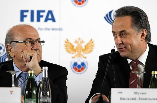 FIFA President Sepp Blatter and Russian Sports Minister Vitaly Mutko attend a news conference in St. Petersburg.