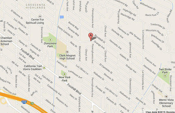 Map shows the location of a day-care center in La Crescenta a where girl tested positive for pot.