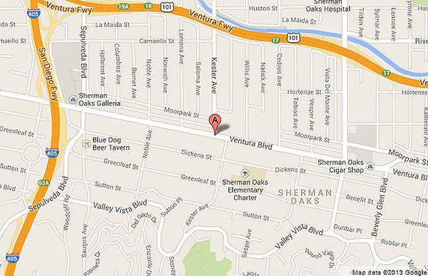 Map shows location of a hit-and-run on Sunday in Sherman Oaks.