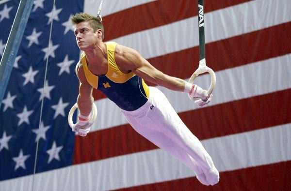 Sam Mikulak competes on the rings during the U.S. men's national gymnastics championships on Sunday in Hartford, Conn.