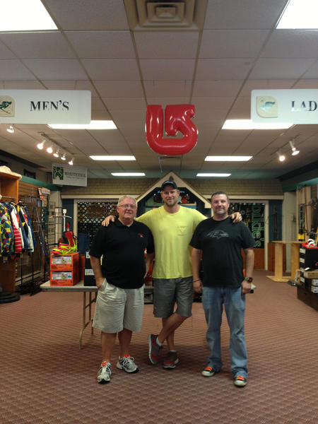 From left, former owner of Bikle's, Bill Clowser, with Ryan Daughtridge and Dax Zombro, the two who are continuing the business as Bikle's Snow, Skate & Surf at 1 N. Potomac St. in Hagerstown.