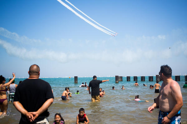 The 55th Annual Air and Water Show was held in Chicago the weekend of August 17, 2013. Although this year had fewer acts and no military fly-overs, crowds are still expected to reach two million. (Brittany Sowacke/RedEye)