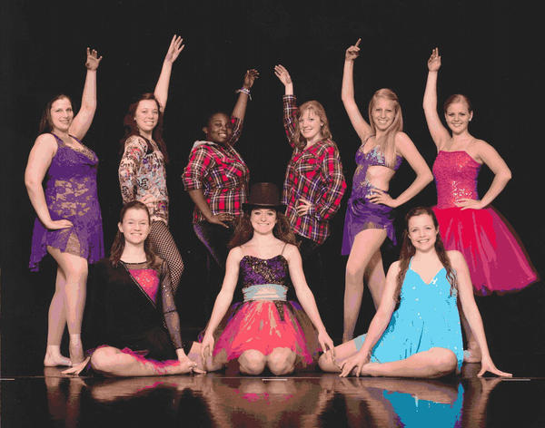 Nine Ballet and All That Jazz senior dancers performed in a recital for the last time May 18 at The Maryland Theatre. They are, kneeling, from left, Kristen Davis, Emily Fortney and Maggie Manspeaker. Back row, Moriah Garling, Ellen McQuaid, Akelah Taylor, Laura Meckley, Caroline Bradford and Emily Newmann.
