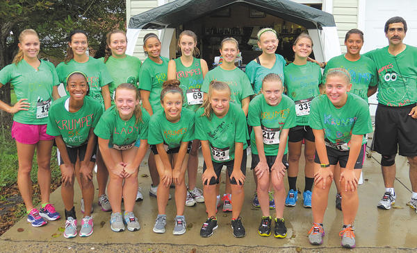 The South Hagerstown High girls soccer team ran in the Krumpe's Donut Alley Rally 5K recently. Bottom row, from left, Tori Mills, Autumn Gill, Kayle Farrow, Lauren Russell, Tiffany Klein and Megan Frey. Top row, Coach Chelsea, Olivia Shoop, Maegan Rowe, Bri Strawther, Sarah Cartwright, Amy Metz, Jenna Miller, Hope Shindle, Renee Williams and Coach David.