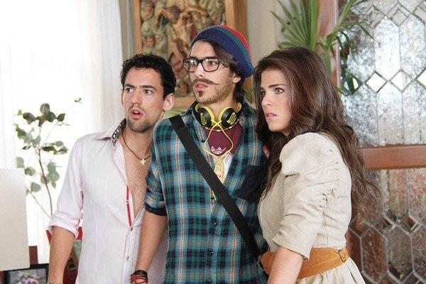 "Luis Gerardo Mendez, left, Juan Pablo Gil and Karla Souza play the spoiled Noble children, Javi, Cha and Barbara, in the movie ""Nosotros Los Nobles"" (We Are the Nobles)."