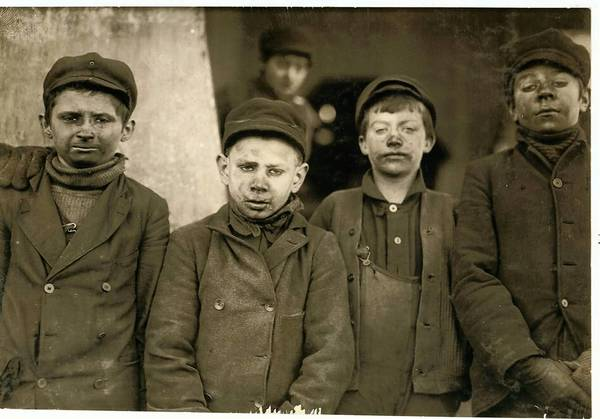 Investigative photojournalist Lewis Hine took this photo of 'breaker boys' working in a coal mine near Pittston, Luzerne County.