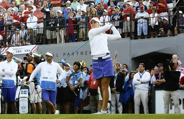 Anna Nordqvist hits off the first tee during Solheim Cup at Colorado Golf Club in Parker.