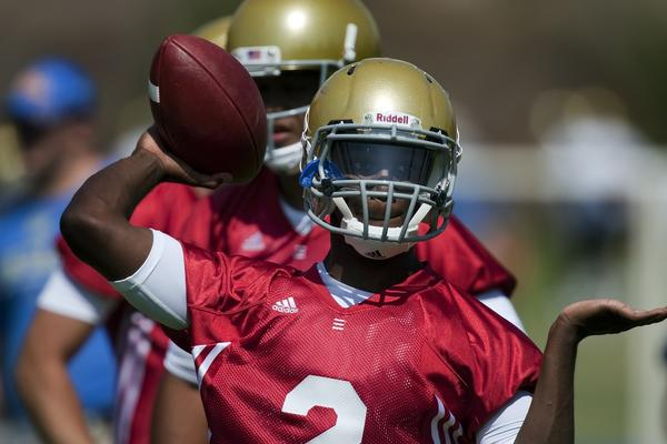 UCLA's Devin Fuller, shown practicing at quarterback last year for the Bruins, has turned into a big-time threat at receiver.