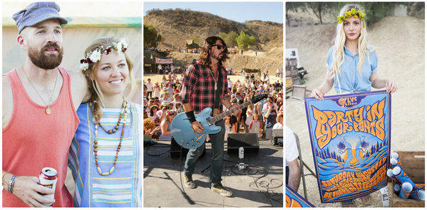 Scenes from Levi's Party in Your Pants launch party music festival include, from left, actress Erika Christensen, wearing a flower crown, and a friend; Dave Grohl performing with Chevy Metal; and a festival-goer holding a party poster.