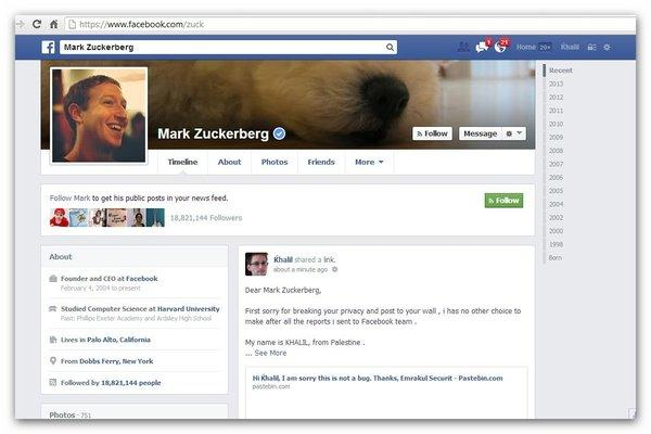 Khalil Shreateh posted on Facebook Chief Executive Mark Zuckerberg's wall last week to show that there was a bug in Facebook that allowed any user to post on any other user's timeline.