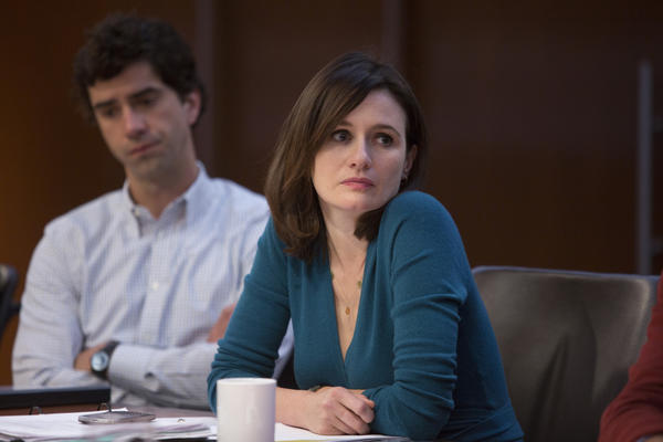 "Hamish Linklater (left) and Emily Mortimer on ""The Newsroom."""