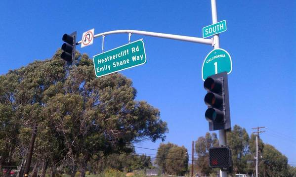 A sign for the street in Malibu named for Emily Shane, the 13-year-old who was killed by a speeding driver in 2010.
