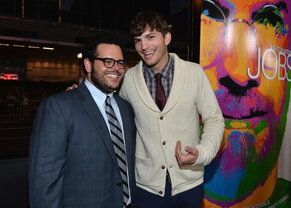 "Actors Josh Gad and Ashton Kutcher attend the screening of ""Jobs"" on August 13, 2013 in Los Angeles, California."