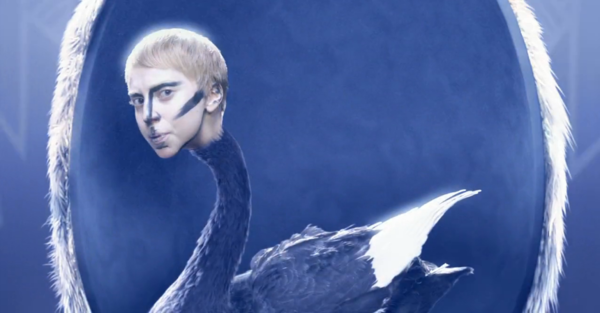 "Lady Gaga as a swan in a screen shot from her new video for ""Applause."""