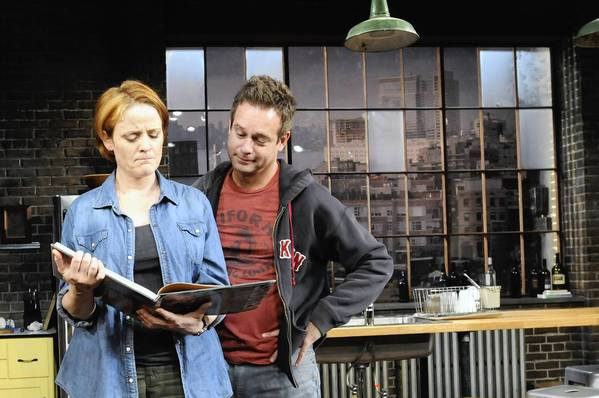"Erika Rolfsrud and Tim Altmeyer are Sarah and James, a troubled couple in ""Time Stands Still"" at Hartford's TheaterWorks"