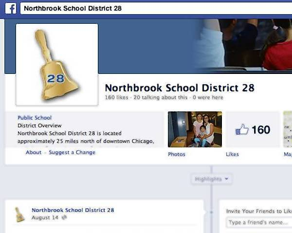 Northbrook School District 28 launched Facebook pages for the upcoming 2013-2014 school year.
