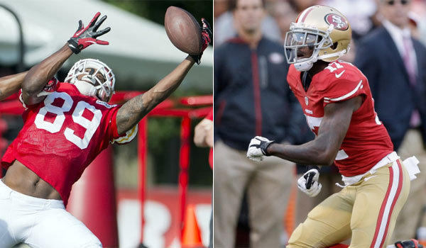 Former Chief Jon Baldwin, left, and ex-49er A.J. Jenkins switched teams Monday as part of a trade of two former first-round receivers.