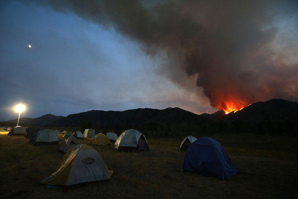 A view from the main camp of crews fighting the Beaver Creek fire, north of Hailey, Idaho.