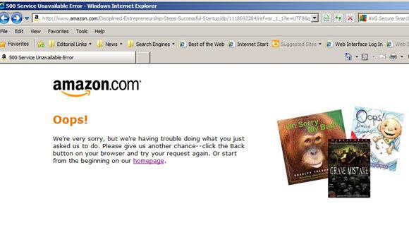 Many visitors Amazon.com on Monday saw this error message.