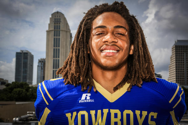 Daquan Harrison of Osceola high school poses for a photo on the roof of the Orlando Sentinel during Varsity Media Day in Orlando, FLA. on Saturday August 17, 2013. (Joshua C. Cruey/Orlando Sentinel)