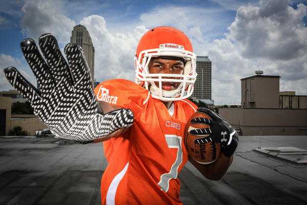Von Davis of Mt. Dora high school poses for a photo on the roof of the Orlando Sentinel during Varsity Media Day in Orlando, FLA. on Saturday August 17, 2013. (Joshua C. Cruey/Orlando Sentinel)
