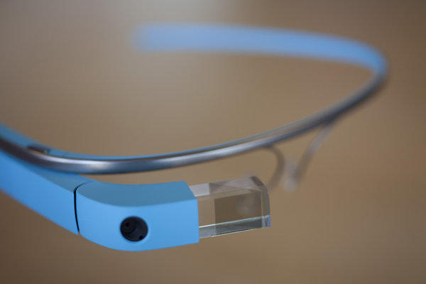 A close-up shot of the Google Glass screen, pictured in San Francisco in July.
