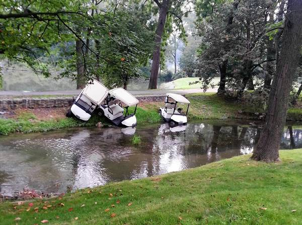 Vandalized golf carts were found in a moat Monday morning at the Iron Lakes Country Club in North Whitehall. State police are investigating.
