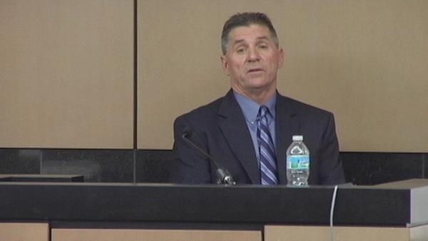 Gary Czajkowski, 53, testifies Monday during his trial in Palm Beach County Circuit Court. He is accused of giving utility workers gifts in exchange for lucrative contracts.