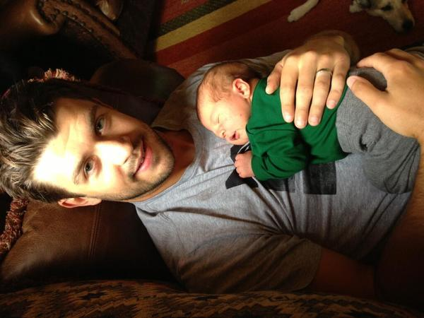 A Twitter photo of Blackhawks defenseman Brent Seabrook and his son, Carter Seven Seabrook.