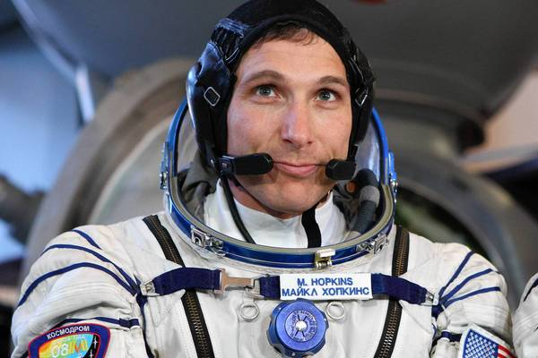 Astronaut Michael Hopkins, shown in March, is headed to the International Space Station next month.