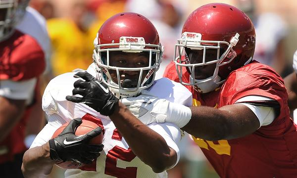 USC freshman running back Justin Davis has made quite an impression with the Trojans' coaching staff.
