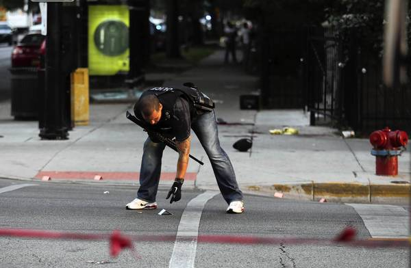 Five people were shot at the intersection of Wilson Avenue and Sheridan Road in the Uptown neighborhood.
