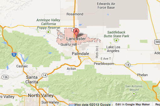 Map shows area where a thunderstorm was hitting the Antelope Valley.