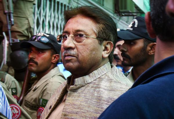 Pervez Musharraf arrives at an anti-terrorism court in Islamabad, Pakistan.