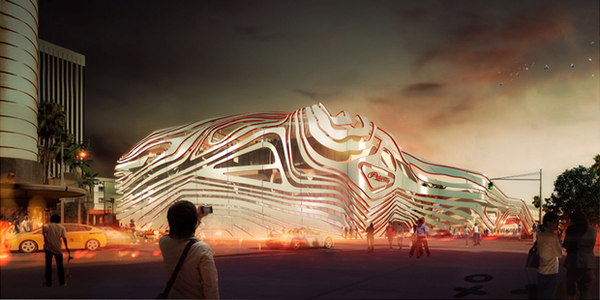 A rendering of a new facade proposed for the Petersen Automotive Museum in Los Angeles.