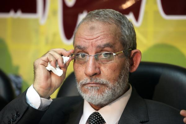 The head of Egypt's Muslim Brotherhood, Mohammed Badie, at a news conference in Cairo.