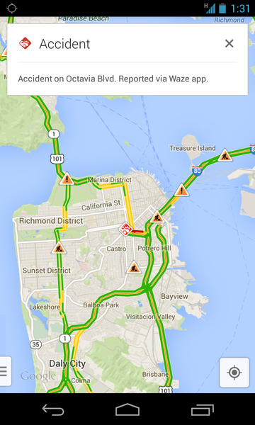 Google Maps has been updated to show incident reports reported by Waze users.