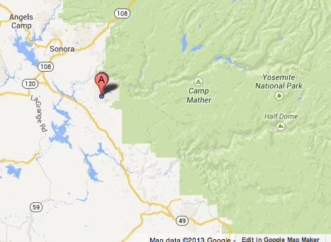 Map shows area where a wildfire forced officials to close California 120 near Yosemite.