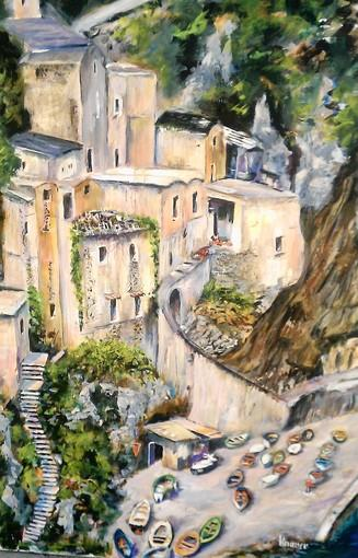 "Bill Knauer's ""Living On The Edge,"" which comes from the Amalfi Coast area of Italy, is on display at Cove Gallery."
