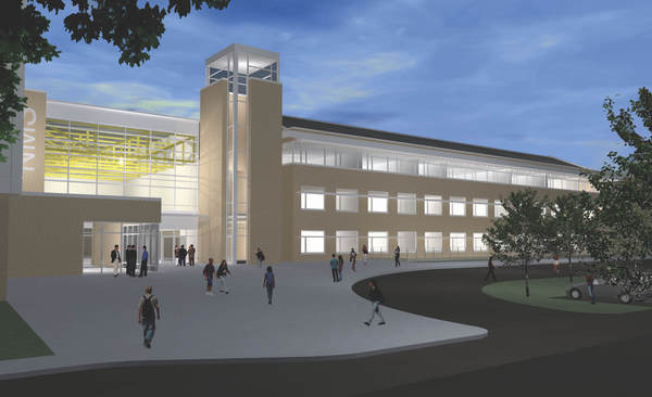 A rendering of the proposed new Nitschmann Middle School in Bethlehem, submitted by Breslin Ridyard Fadero Architects of Allentown. The Bethlehem Area School Board on Monday came to a consensus that it wants to negotiate a contract with the firm.