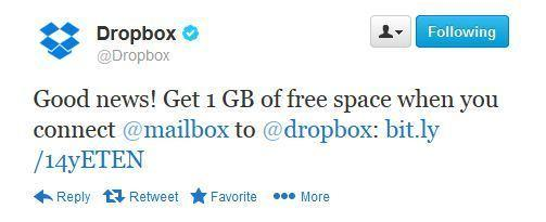 Dropbox is giving users who connect their accounts with Mailbox 1 GB of free storage.