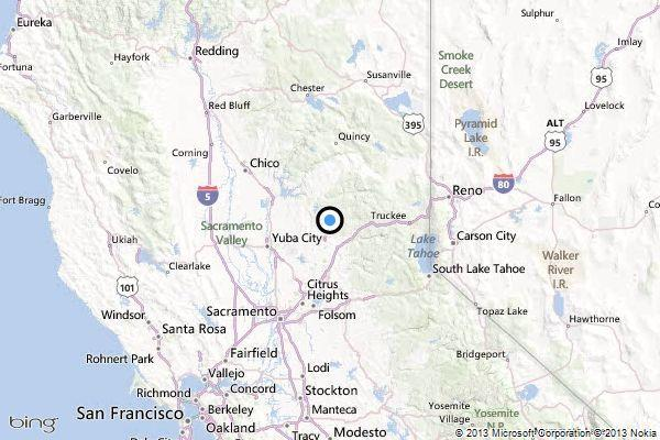 A map showing the location of the epicenter of Tuesday morning's quake near Nevada City, California.