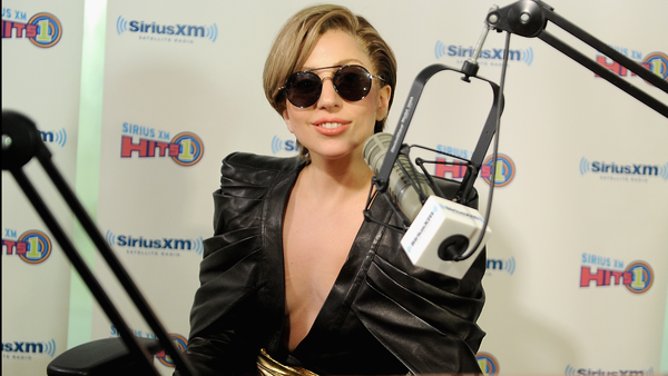 "Lady Gaga wears Balmain on ""The Morning Mash Up Live"" on Sirius XM in New York on Monday."