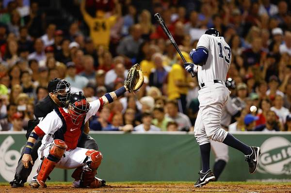 The Yankees' Alex Rodriguez is hit by a pitch from Boston pitcher Ryan Dempster.