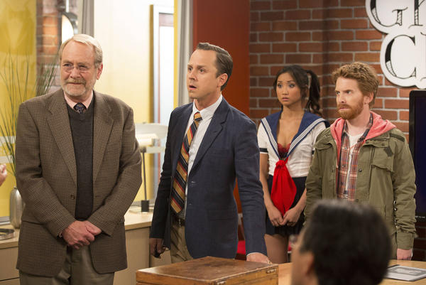 """Martin Mull, from left, Giovanni Ribisi, Brenda Song and Seth Green in a scene from """"Dads."""""""