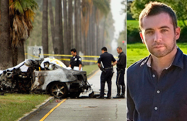 LAPD officers examine the scene of a car crash that killed journalist Michael Hastings, shown at right.