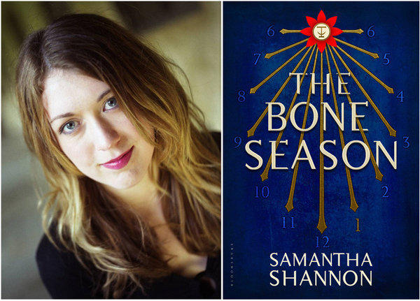 "Author Samantha Shannon and the cover of her novel, ""The Bone Season."""