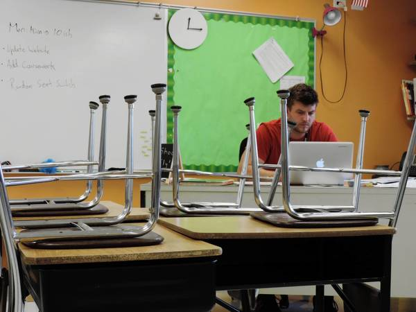 Some desks in Jason Nejman's third-grade classroom at Arbor View are uneven.