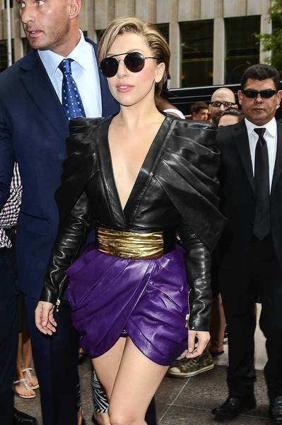 Lady Gaga enters the Sirius XM Studios in New York on Monday.